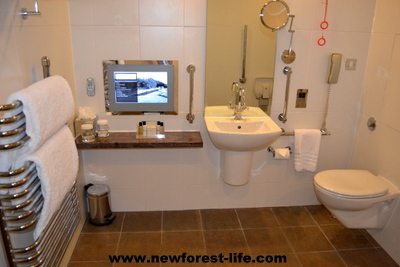 Rhinefield House Hotel disabled suite wetroom