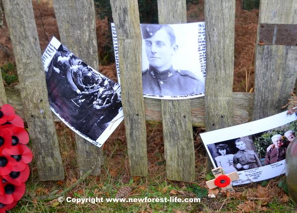 Personal memories displayed at Canada Cross ( Mogshade Hill ) New Forest Memorial near Bolderwood