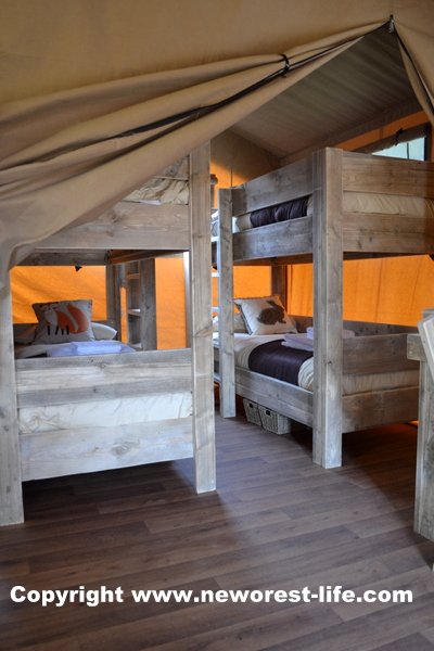 New Forest safari tent bunk beds at Sandy Balls