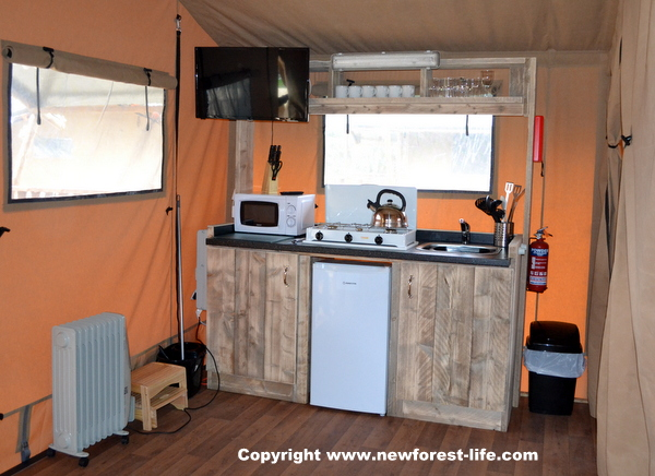 New Forest glamping kitchen at Sandy Balls