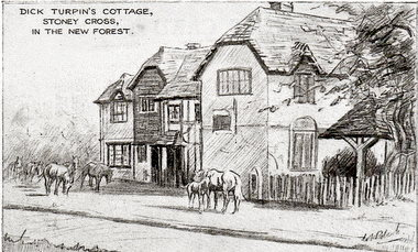 New Forest etching of Dick Turpins cottage